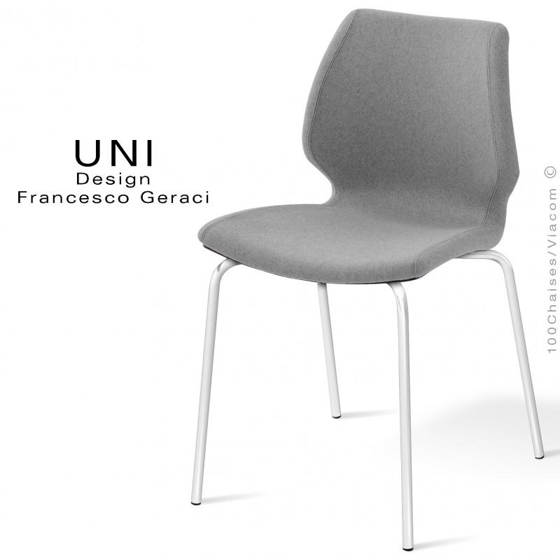 Chaise design UNI, assise coque effet matelassé, piétement peint blanc, assise et dossier garnies, habillage 100% laine grise.