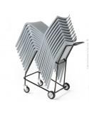 Chariot de manutention chaise NASSAU pour hôtel, restaurant, jardin, structure plastique, 4 pieds monobloc couleur.