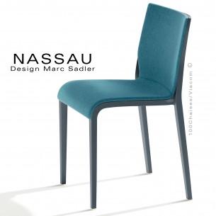 Chaise NASSAU, pour hôtel, restaurant, café, snack, structure plastique anthracite, assise tissu bleu FL830.