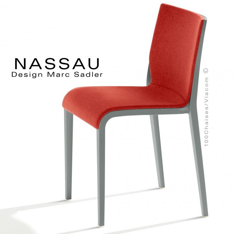 Chaise NASSAU, pour hôtel, restaurant, café, snack, structure plastique gris, assise tissu brique FL825.