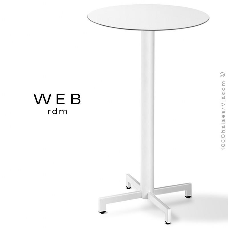 Table mange debout WEB, piétement quatre branches sur colonne, acier peint blanc, plateau compact blanc