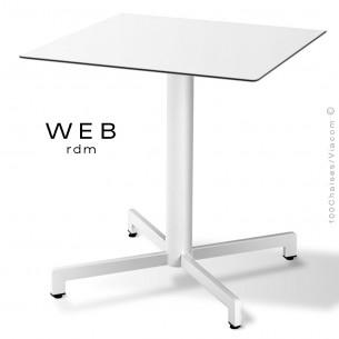 Table WEB, piétement quatre branches sur colonne, acier peint blanc, plateau compact blanc