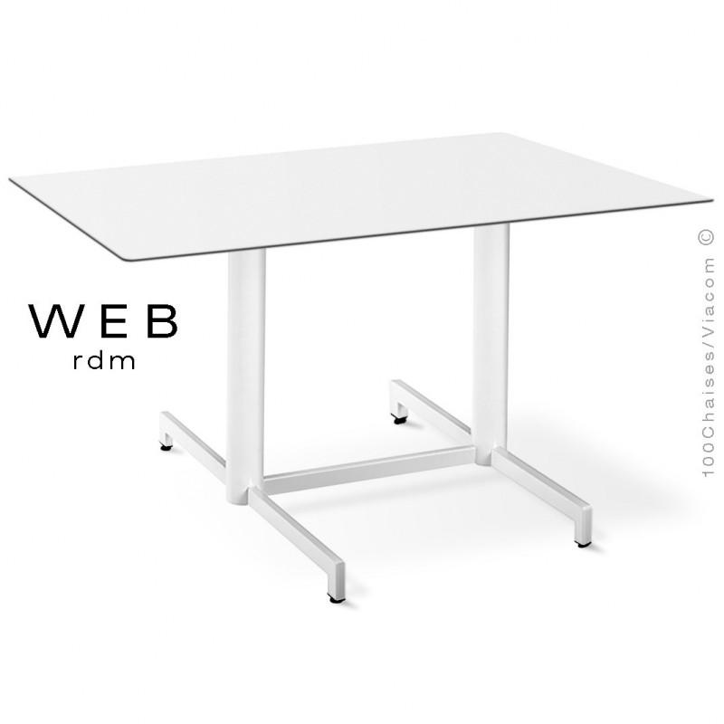 Table WEB, piétement quatre branches sur double colonnes, acier peint blanc, plateau compact blanc
