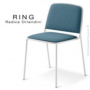 Chaise RING, assise et dossier garnis, piétement acier peint blanc, habillage tissu bleugris