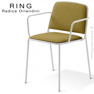 Fauteuil RING, assise et dossier garnis, piétement acier peint blanc, habillage tissu kaki