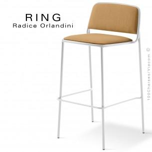 Tabouret RING, assise et dossier garnis, piétement acier peint blanc, habillage tissu corde