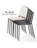 Collection RING, chaise, fauteuil, tabouret, piétement acier peint, assise tissu ou cuir synthétique