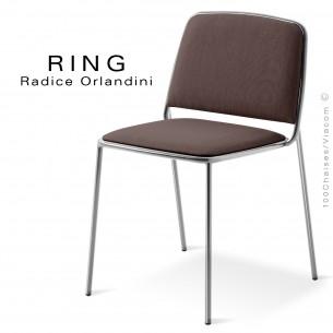 Chaise RING, assise et dossier garnis, piétement acier chromé, habillage tissu taupe