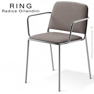 Fauteuil RING, assise et dossier garnis, piétement acier chromé, habillage tissu gris clair