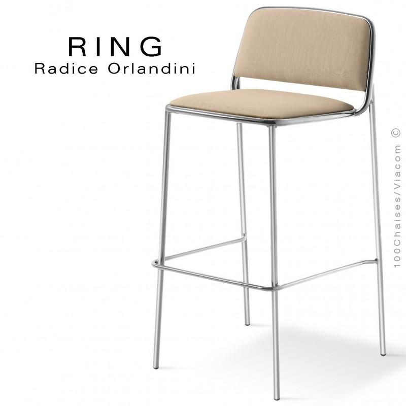 Tabouret RING, assise et dossier garnis, piétement acier chromé, habillage tissu crème