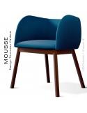 Fauteuil Mousse, piétement bois hêtre teinté noyer, assise et dossier garnie, habillage tissu bleu pétrol