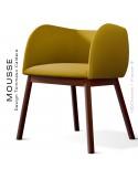 Fauteuil Mousse, piétement bois hêtre teinté noyer, assise et dossier garnie, habillage tissu jaune