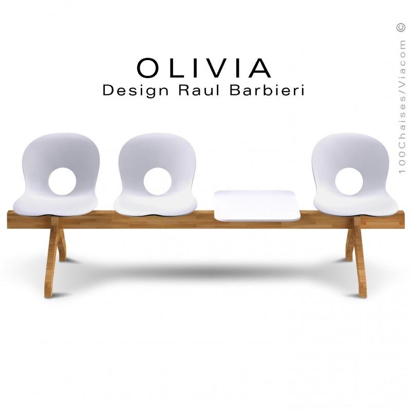 Banc design OLIVIA, piétement bois, assise coque plastique couleur blanche.