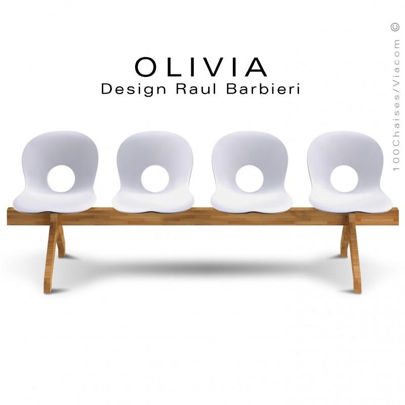 Banc design OLIVIA, piétement bois, assise 4 places coque plastique couleur blanche.