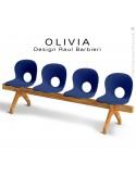 Banc design OLIVIA, piétement bois, assise 4 places coque plastique couleur bleu foncé.