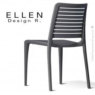 Chaise design ELLEN, structure et piétement plastique couleur anthracite, pour extérieur.