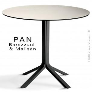 Table PAN, en bois de frêne peint noir, plateau FENIX male (blanc)