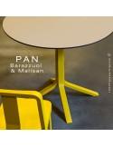 Table PAN, colonne central en bois de frêne peint ou teinté, plateau en FENIX®