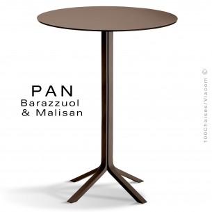 Table mange debout PAN, bois de frêne teinté wengé, plateau FENIX londra (gris)