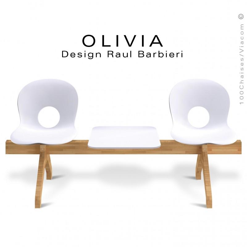 Banc design OLIVIA, piétement bois, assise 2 places coque plastique couleur blanche avec tablette blanche.