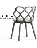 Chaise GERLA, 4 pieds bois de frêne peint gris, assise garnie blanc