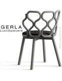 Chaise GERLA, 4 pieds bois de frêne peint gris, assise garnie noir