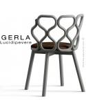 Chaise GERLA, 4 pieds bois de frêne peint gris, assise garnie marron