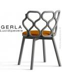 Chaise GERLA, 4 pieds bois de frêne peint gris, assise garnie orange