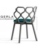 Chaise GERLA, 4 pieds bois de frêne peint gris, assise garnie bleu