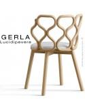 Chaise GERLA, 4 pieds bois de frêne teinté naturel, assise garnie blanc