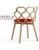 Chaise GERLA, 4 pieds bois de frêne teinté naturel, assise garnie rouge