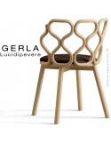 Chaise GERLA, 4 pieds bois de frêne teinté naturel, assise garnie marron