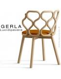 Chaise GERLA, 4 pieds bois de frêne teinté naturel, assise garnie orange