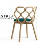 Chaise GERLA, 4 pieds bois de frêne teinté naturel, assise garnie bleu