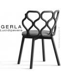 Chaise GERLA, 4 pieds bois de frêne peint noir, assise garnie gris