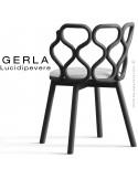 Chaise GERLA, 4 pieds bois de frêne peint noir, assise garnie blanc