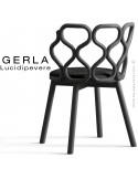 Chaise GERLA, 4 pieds bois de frêne peint noir, assise garnie noir