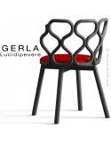 Chaise GERLA, 4 pieds bois de frêne peint noir, assise garnie rouge