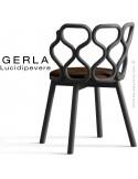 Chaise GERLA, 4 pieds bois de frêne peint noir, assise garnie marron
