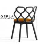 Chaise GERLA, 4 pieds bois de frêne peint noir, assise garnie orange