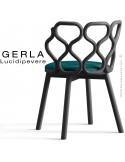 Chaise GERLA, 4 pieds bois de frêne peint noir, assise garnie bleu