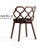 Chaise GERLA, 4 pieds bois de frêne teinté noyer, assise garnie noir