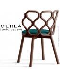 Chaise GERLA, 4 pieds bois de frêne teinté noyer, assise garnie bleu