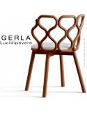 Chaise GERLA, 4 pieds bois de frêne teinté teck, assise garnie blanc