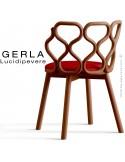 Chaise GERLA, 4 pieds bois de frêne teinté teck, assise garnie rouge