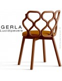 Chaise GERLA, 4 pieds bois de frêne teinté teck, assise garnie orange