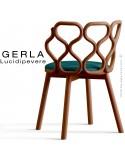 Chaise GERLA, 4 pieds bois de frêne teinté teck, assise garnie bleu