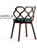 Chaise GERLA, 4 pieds bois de frêne teinté wengé, assise garnie bleu