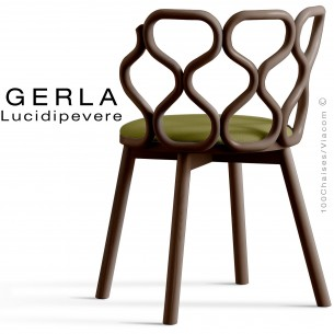 Chaise GERLA, 4 pieds bois de frêne teinté wengé, assise garnie vert