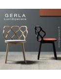 Chaise GERLA, 4 pieds bois de frêne peint ou teinté, assise garnie